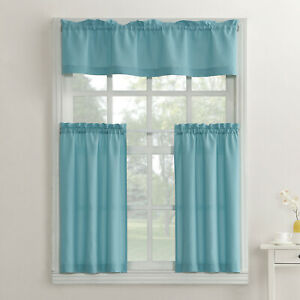 Set Of 2 Mainstays Solid 3 Piece Kitchen Curtain Set Mineral Ebay
