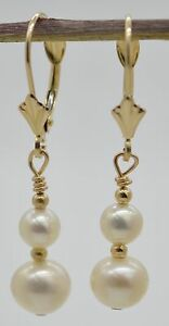 #BE101 New 14K Solid gold natural cultured white double pearl drop earrings