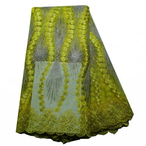 French Net Lace Fabric Bridal Dresses African Swiss Voile Tulle Lace With Stones