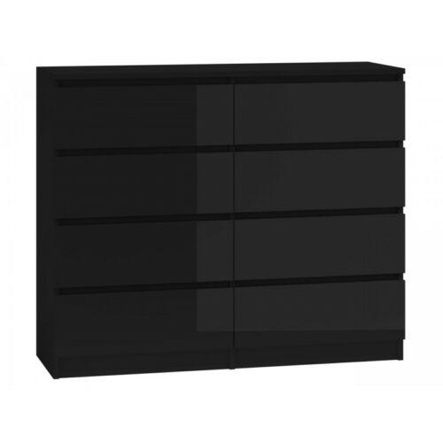 Kommode mit 8 Schubladen 120cm Sideboard schwarz Hochglanz  Anrichte holz