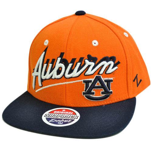 7680b87fad6 NCAA Auburn Tigers AU Flat Bill Zephyr Logo Snapback Orange Navy Blue Hat  Cap for sale online