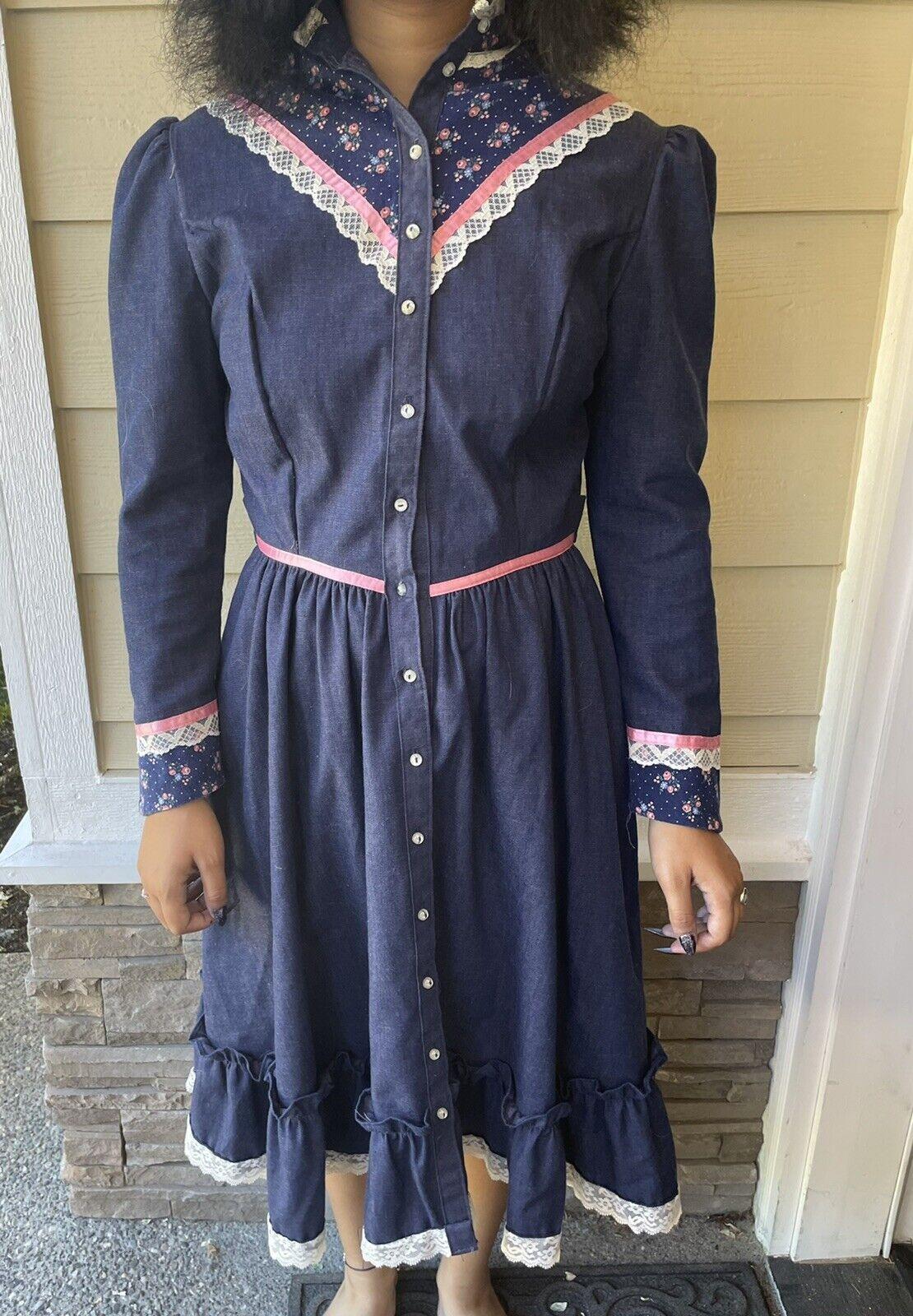 Vintage Gunne Sax Dress 13-14 Denim Prairie Cotta… - image 1