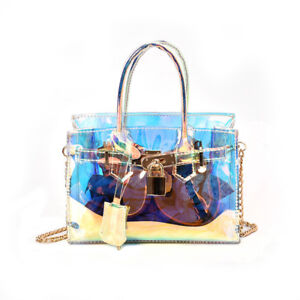 Image Is Loading Women Holographic Bag Clear Transparent Small Tote Hologram