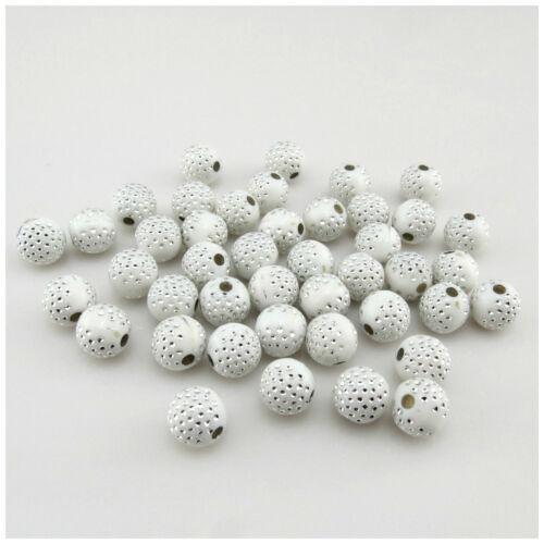 50PCS 10MM Acrílico Multicolores punto de plata redonda granos para la fabricación de joyas