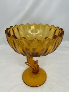Indiana Glass Amber Gold Lotus Blossom Compote Candy Dish mid century vintage