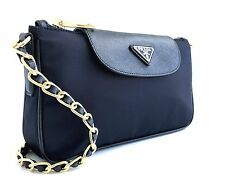 $770 NEW Prada  saffiano black Tessuto  crossbody with Chain bag 1BH779