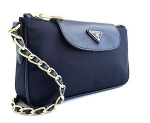 e318d9c7d4f5 Dettagli su $770 NEW Prada saffiano black Tessuto crossbody with Chain bag  1BH779