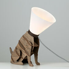 Modern Brown Wooden Designer Style Dog On Lead Table Lamp Light Lamps Cone  Shade