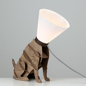Modern Brown Wooden Designer Style Dog On Lead Table Lamp