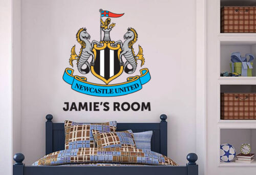 Official newcastle united football personalised crest wall sticker decal mural 60cm