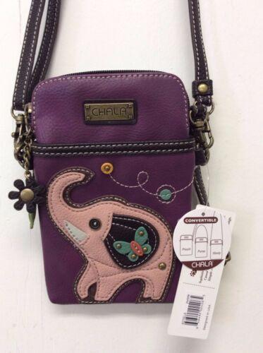 Chala Elephant Cell Phone Crossbody Bag Small Convertible Purse Purple New