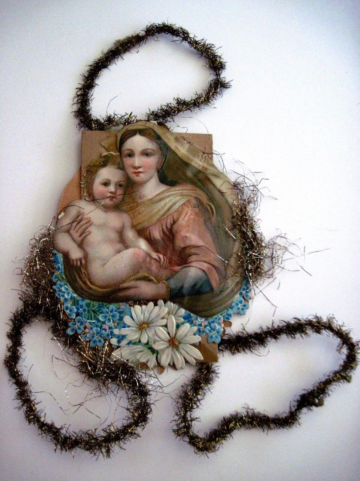 Antico Vittoriano Vintage Fustellati Religioso Natale Oggetto per Scrap