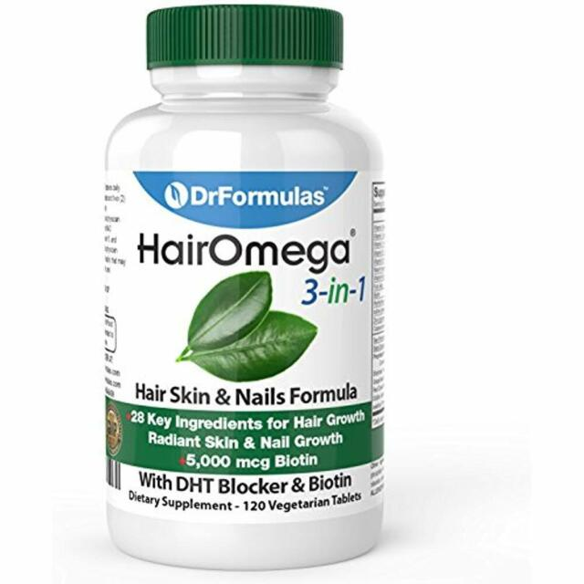 Omega 3-in-1 Hair Growth & Loss Vitamins with DHT Blocker and Biotin 120  Pilsss
