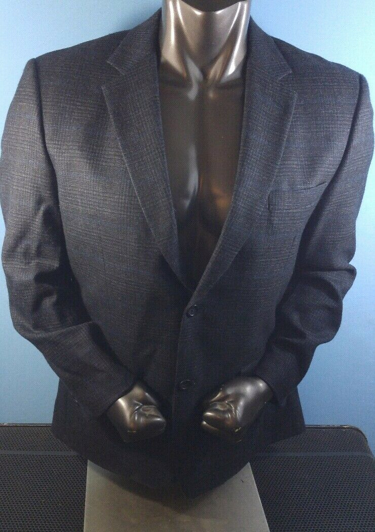 Joseph & Feiss gold - Brown Prince of Wales Lambswool 2 btn Sport Coat - Sz 42R
