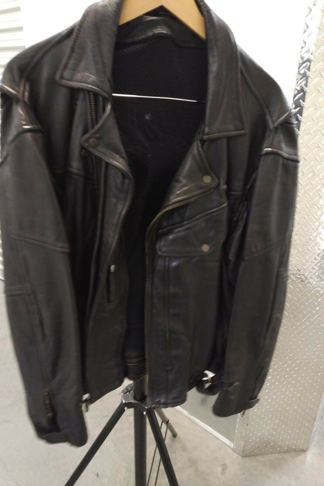 Mens schwarz leather motorcycle jacket