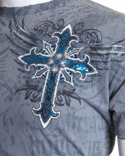 ARCHAIC by AFFLICTION MensT-Shirt RED FLAG Cross Wings GREY Tattoo Biker UFC $40