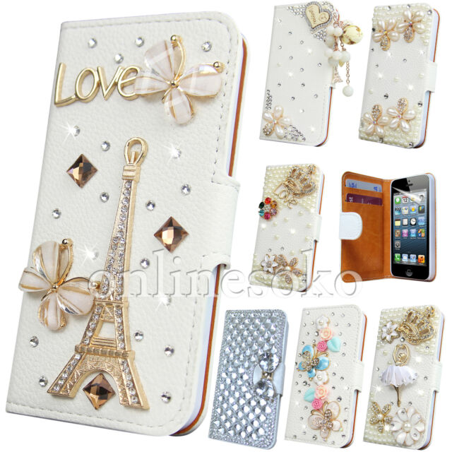 LUXURY 3D BLING DIAMOND LEATHER WALLET CASE FOR SAMSUNG GALAXY S3 S4 Mini S5 S6
