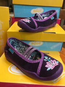 Befado Meninas Roxo Veludo Mary-Jane glitterfairy Motif Sapato Antiderrapante tamanho 26/8.5