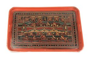 Antique-Burmese-Lacquerware-Old-Lacquer-Plate-Tray-Hand-Painted-Asian-Art