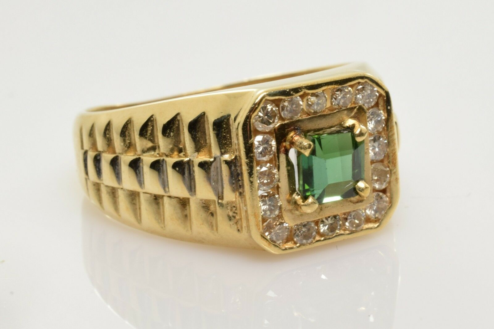 Vintage Green Tourmaline and Diamond Ring in 10k gold 1.17 Carats Size 11