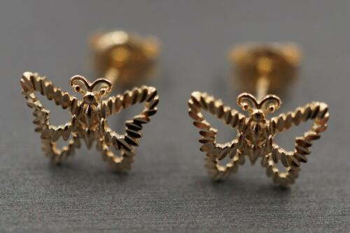 Details about  /14K Solid Yellow Gold 7 mm x 9.5 mm Diamond Cut Butterfly Stud Earrings.