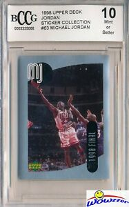 1998-Upper-Deck-63-Michael-Jordan-Sticker-BECKETT-10-MINT-Bulls-HOF