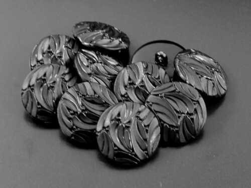5 nostalgische schwarze Ösen Kunststoff Knöpfe in Glas Optik 1015sc