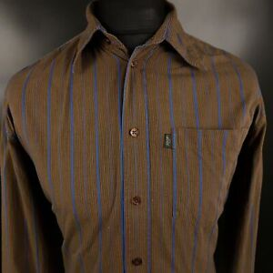 JOOP-Mens-Casual-Shirt-LARGE-Long-Sleeve-Brown-Regular-Fit-Striped-Cotton