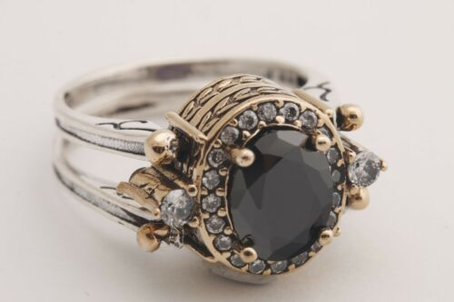 Turkish Reversible Oval Amethyst and Black Onyx Topaz 925 Sterling Silver Ring