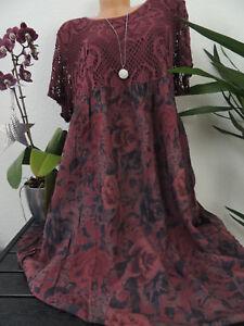 Damen Kleid Größe 46 48 50 52 54 Übergröße Kleider Maxikleid Blumen Spitze 137  eBay