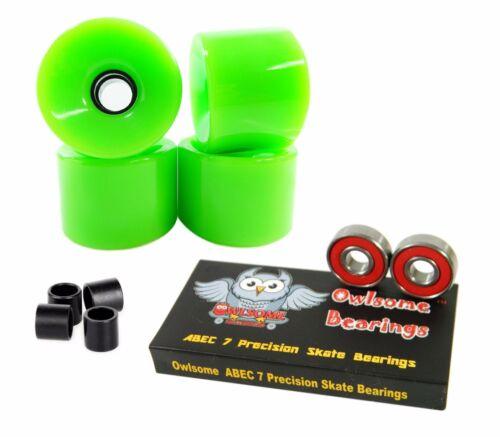 Owlsome Precison ABEC 7 Bearings Blank 60mm 82a Neon Green Cruiser Wheels