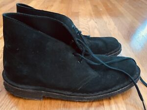 Clarks Originals Desert Boot Chukka Women's 8.5 Black Suede Leather Crepe Sole