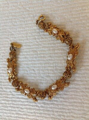 Vintage Gold Designer FLORENZA Costume Link Bracelet Pearls Baroque Style Vtg