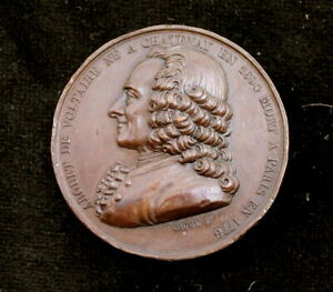 Nice-High-Relief-1820-France-Voltaire-Copper-Medal-by-Caque-36-5mm