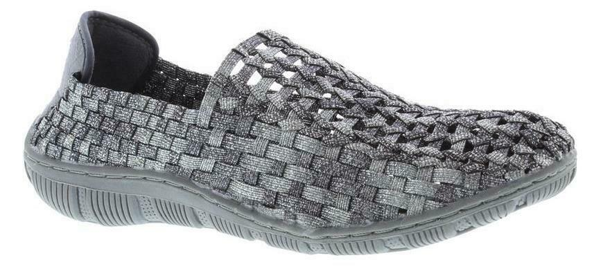 Adesso Layla A4845 Metallic Pewter Elasticated Full Slip On chaussures
