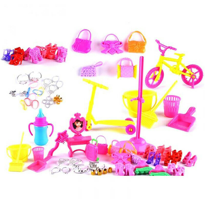 55pcs Clothes Party Gown Outfits For Barbie Dolls Accessories Shoes Bags 8