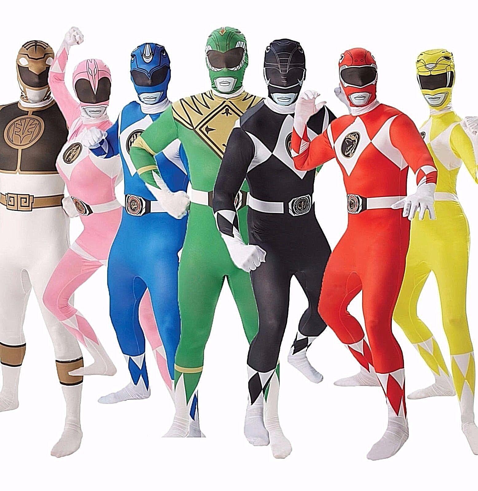 Adult Ladies PINK POWER RANGER Fancy Dress Costumes Superhero Rangers Outfit NEW