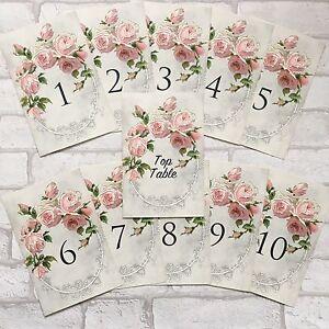 Set Of Vintage Wedding Table Number Cards Pink Rose 1-10 Top Table ...