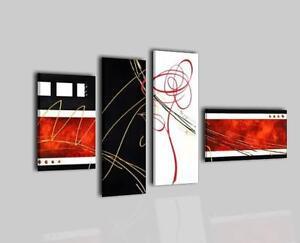 Quadri moderni astratti dipinti a mano su tela rosso for Quadri componibili moderni