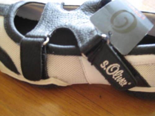S.Oliver Ballerinas Ballerina Schuhe schwarz weiß Gr 39 Leder Neu m Etikett