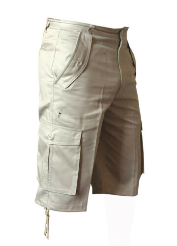Mens cargo summer walking 5 pockets cotton shorts with belt loops cotton 32-48