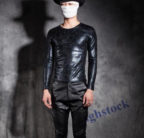 Men/'s Punk Faux Leather Shirt Clubwear Skinny Gothic Tops Outwear Jacket Coat SZ