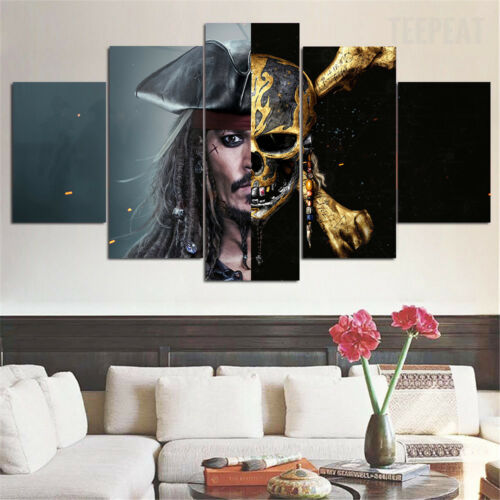 Framed Pirates of the Caribbean Skull Movie 5 Piece Canvas Wall Art Home Decor