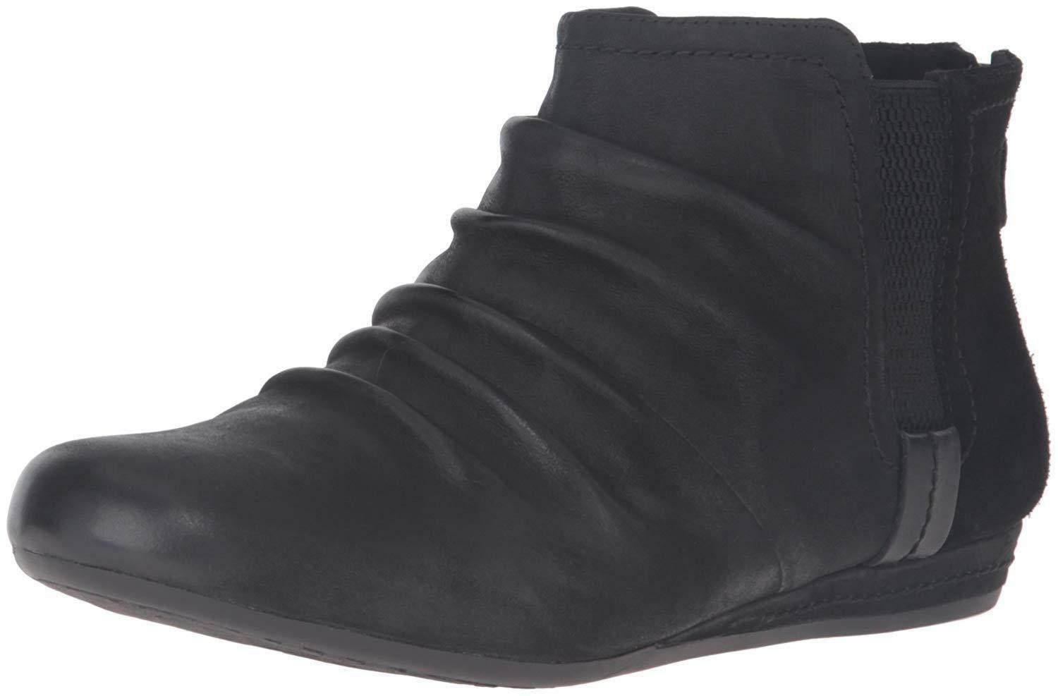 NEW Cobb Hill Rockport Women's Genevieve Leather Boot Black Size US 6.5W/