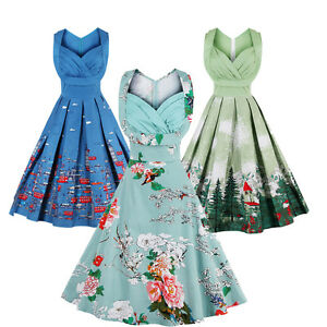 Details about Plus Size Rockabilly Dress Vintage Pleat Swing Pinup Retro  Housewife Party Dress