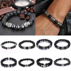 Vintage-Men-Women-Lava-Rock-Stone-Skull-Wave-Yoga-Mala-Beaded-Bracelet-Jewelry