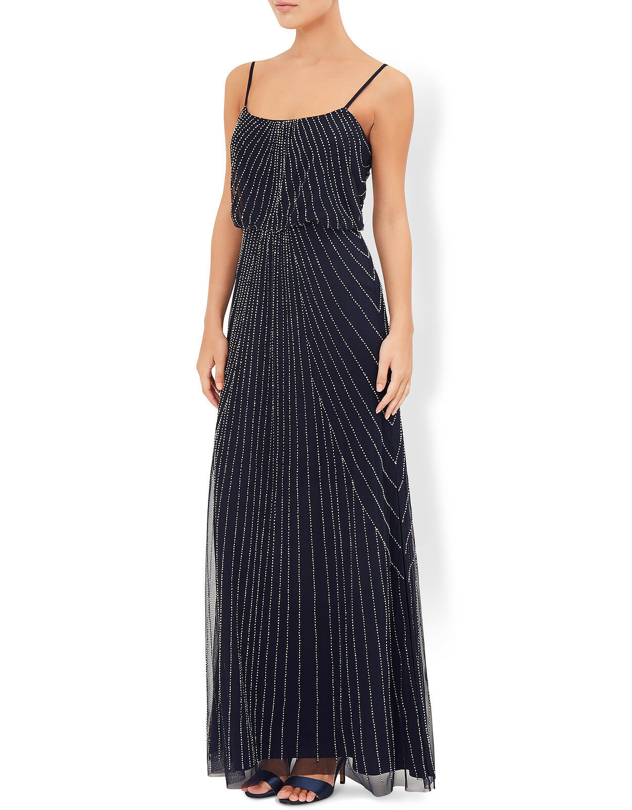 REDUCED   BNWT MONSOON LINNEA NAVY blueE EMBELLISHED MAXI DRESS Size 18 RRP