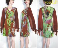 SAVE THE QUEEN brown XXL Woodland RUCHED bust CHIFFON sleeves dress NWT Authentc