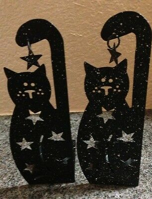 Metal Cat Tea Light Holders Black & White Speckled Set Of 2 New