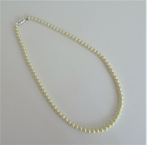 Cream Pearl Bead Necklace with Beautiful Vintage Look Crystal Clasp